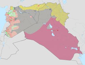 En gris, les territoires contrôlés par l'ÉI (Haghal Jagul - wikimedia - CC https://fr.wikipedia.org/wiki/%C3%89tat_islamique_%28organisation%29#/media/File:Syria_and_Iraq_2014-onward_War_map.png)