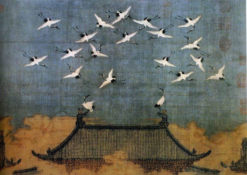 Grues de bon augure, 1112, Empereur Huizong. Encre et couleurs sur soie. Musée provincial du Liaoning. (wikimedia - CC)