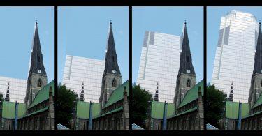 Image: la tour de KPMG à Montréal (montage Léa Robitaille/LeVerbe)