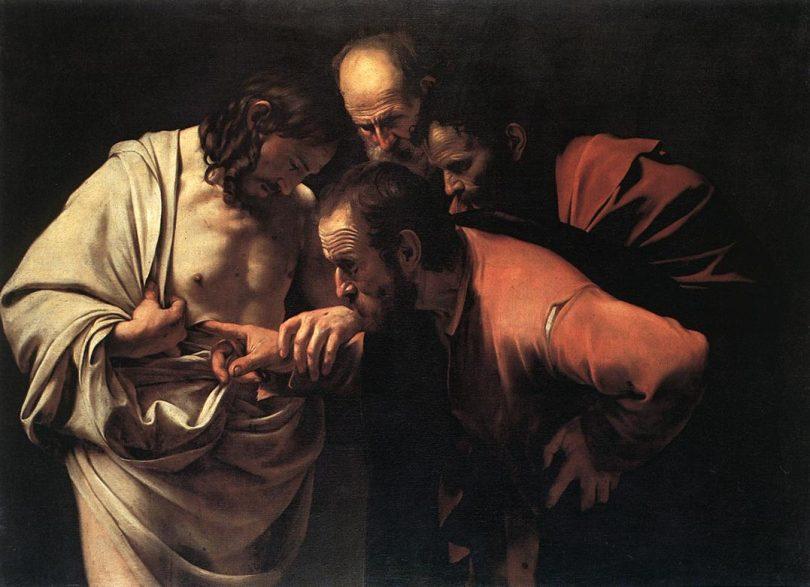 L'incrédulité de Saint Thomas, par Le Caravage (vers 1603)