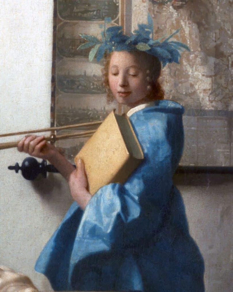 Clio, détail de L'Allégorie de la peinture, par Vermeer (1666) - Wikimedia CC.