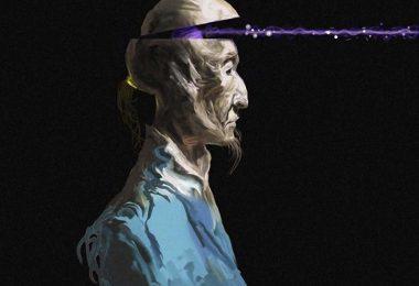 Peinture homme en bleu